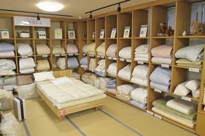 ▲豊富な種類の寝具から最適なものをご提案します。